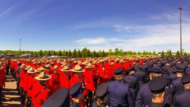 Thousands of law enforcement members from across the country gathered in Moncton for the funeral of three Moncton RCMP officers who were killed in Moncton last week.