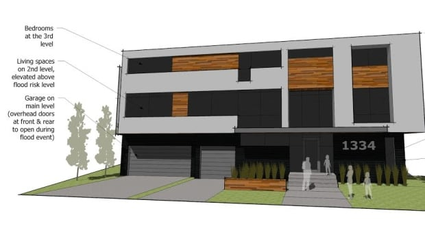 A Calgary man is waiting to hear from the province about his proposal to build this raised house on his lot on Riverdale Avenue S.W.