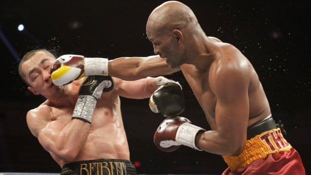 Beibut Shumenov, left, of Kazakhstan, takes a punch from Bernard Hopkins, right, of the United States, during their IBF, WBA and IBA Light Heavyweight World Championship unification boxing match in Washington this past April. Hospital records show that when humans fight hand-to-hand, they usually strike each other's faces.