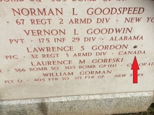 skpic Lawrence Gordon name on American military ceremony