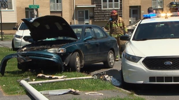 A woman, who police allege was driving a stolen vehicle, crashed into a power pole on Killkee Gate.