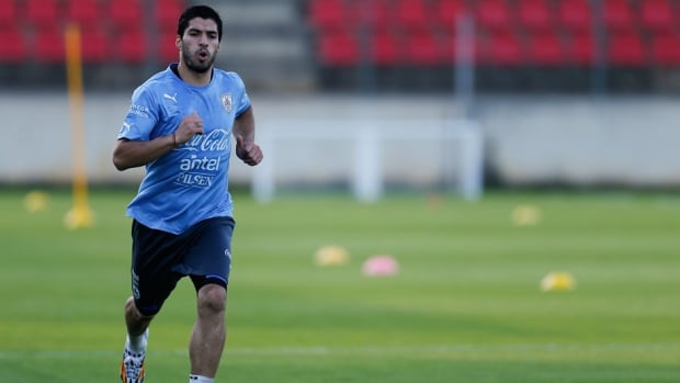 Uruguay striker Luis Suarez is still dealing with the lingering effects of knee surgery last month.
