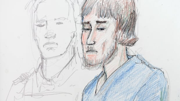 Justin Bourque is shown in an artist's sketch during his court appearance in Moncton on June 6, 2014. He faces three first-degree murder charges and two counts of attempted murder.