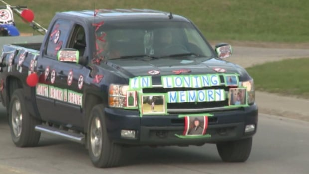 This is one of about 130 vehicles that took part in the MADD motorcade that drove through Labrador West on Tuesday evening.
