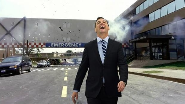 Members of the PC party were furious at this image from a Liberal campaign flyer, which shows party leader Tim Hudak walking away from a hospital explosion.