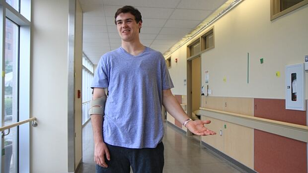 Hockey player Riley Dunda is able to walk on his own five weeks after he suffered a major stroke at his Grimsby home.