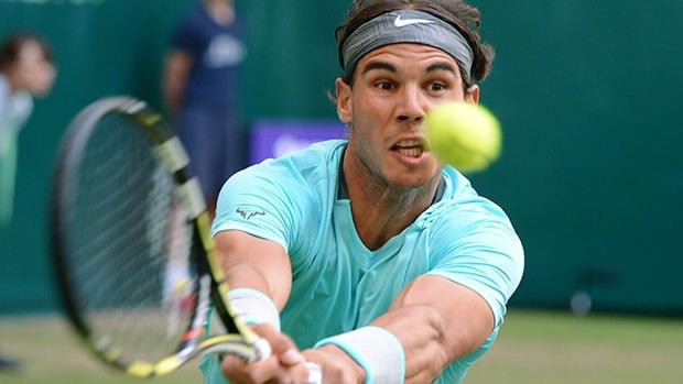 Rafael Nadal reaches for the ball during his match against Dustin Brown at the Gerry Weber Open in Halle, Germany.