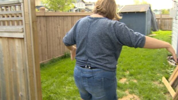 Lori Hansen shows where her fence was flattened by a speeding vehicle on Tuesday evening.