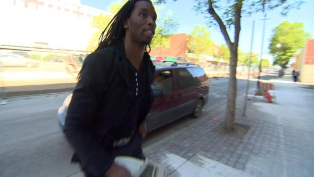 Taj Smith, outside provincial court in Regina June 12, 2014 following his preliminary hearing on an assault charge.