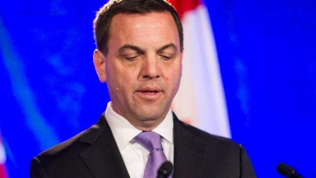 Ontario PC Leader Tim Hudak gives his concession speech at his election night party in Grimsby, Ontario on Thursday, June 12, 2014. THE CANADIAN PRESS/Chris Young