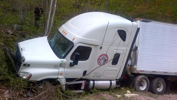 RCMP Cpl. Scott MacRae says the truck missed the last sharp turn at the bottom of the hill.