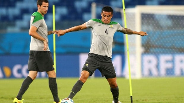 Aussie Tim Cahill (4) has an uncanny ability to be in the right place at the right time.