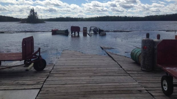 The Rusty Myers' Flying Service dock at Sturgeon Lake, near Savant Lake, On. was partially submerged after heavy rain swamped the area last year.
