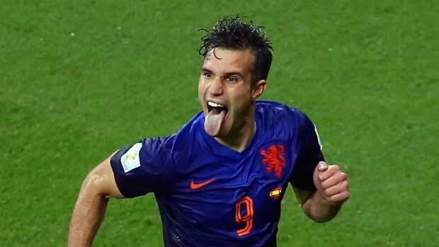 Robin van Persie of the Netherlands celebrates his second goal.