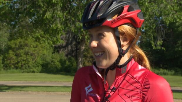 Paula Findlay shared triathlon training tips to cyclists at Hawrelak Park Saturday morning.