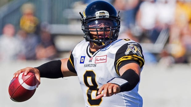 Tiger-Cats quarterback Jeremiah Masoli looks to make a pass during pre-season action against Montreal in Hamilton on Saturday. He threw three touchdown passes in the second half to key a 28-23 Ticats victory.