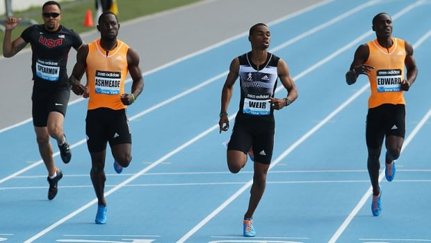 Warren Weir of Jamaica, second from right, wins the men's 200 metres during the Adidas Grand Prix at Icahn Stadium on Randalls Island in New York City on Saturday. Weir clocked a world-best 19.82 seconds.