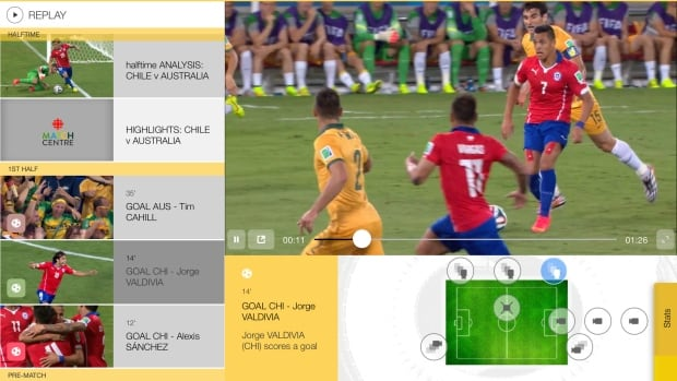 CBC's FIFA World Cup app will offer viewers a multi-angle camera experience, in addition to match schedules and statistics.