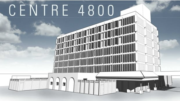 An architectural sketch showing the building, a former northeast Calgary hotel, that will be known as Centre 4800.