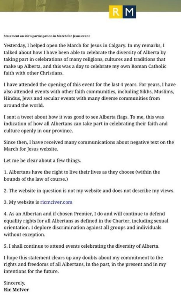 Ric McIver statement
