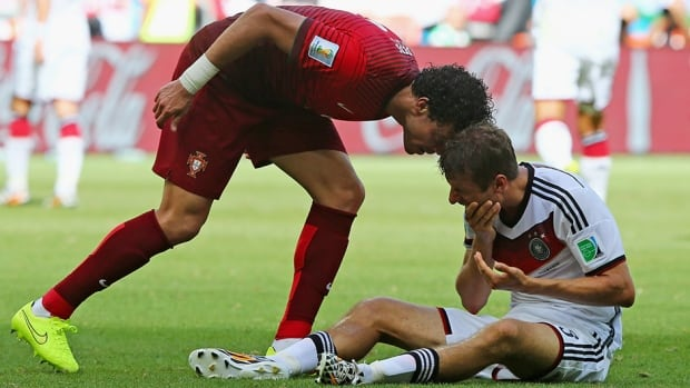This ill-advised headbutt by Portugal's Pepe on Thomas Muller of Germany resulted in a controversial red card Monday in Group G action.