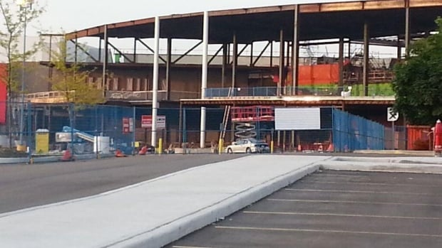 A 37-year-old man was air-lifted to hospital with chest injuries late Monday after an accident at the Erin Mills Town Centre, which is undergoing a renovation.
