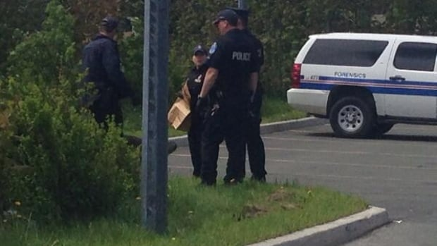 RNC officers retrieve a handgun-style pellet gun from bushes outside Booth Memorial high school on Tuesday morning in St. John's.