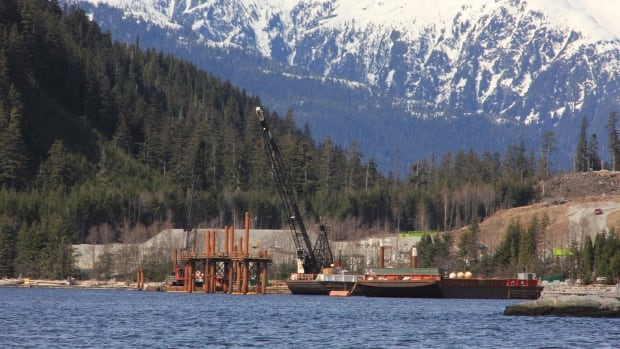 Cranes work in the water at the Kitimat LNG site near Kitimat, in northwestern British Columbia on April 13, 2014. One of the biggest projects is in doubt after partner Apache Corp. pulled out.