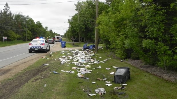 RCMP at the scene of a collision in East St. Paul, just outside of Winnipeg, on Tuesday.
