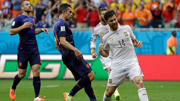 Xabi Alonso (14) was the lone bright spot in Spain's 5-1 defeat to the Netherlands on Friday.