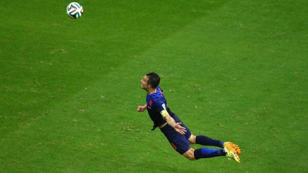 Netherlands striker Robin van Persie's header for a goal against Spain last week is a highlight goal fans be watching again and again for years to come.