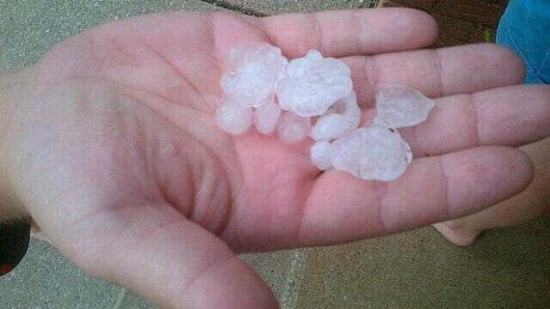 Hail was part of a storm that whipped through Tilbury on Tuesday night.