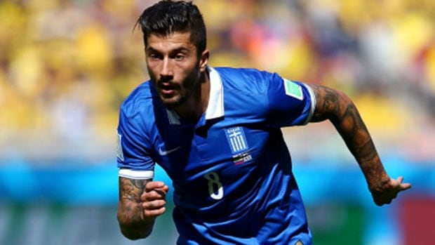 Panagiotis Kone had a standout game in an otherwise poor effort by Greece against Colombia.