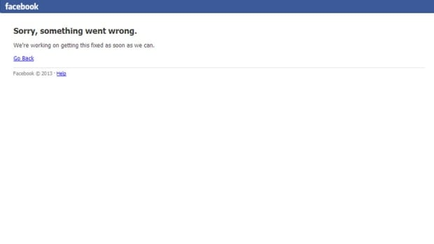 Users who tried to log onto Facebook early Thursday morning may have been greeted with this message, saying: 'Sorry, something went wrong. We are working on getting this fixed as soon as we can.'