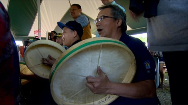 Drummers at the Dene hand games
