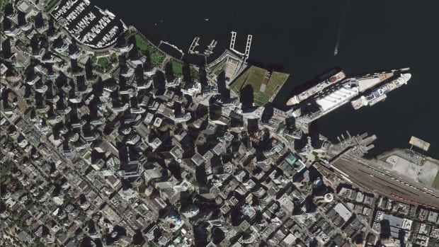 The full-sized version of this satellite image of Vancouver with a resolution of 50 centimetres. Starting early next year, images with a resolution nearly twice as good will be commercially available.