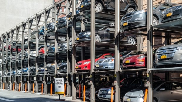 Developers of the Tivoli Theatre project hope to use a car stacker, such as this one in Manhattan, to deal with a parking shortage in the area.