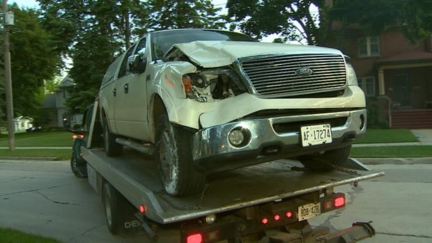 The OPP seized this vehicle after two road crew workers in Alliston were struck by a car while working.