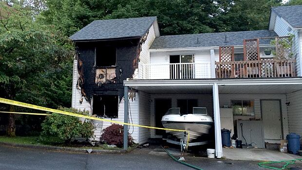 One man died in a fire at this Maple Ridge townhouse on Thursday night.