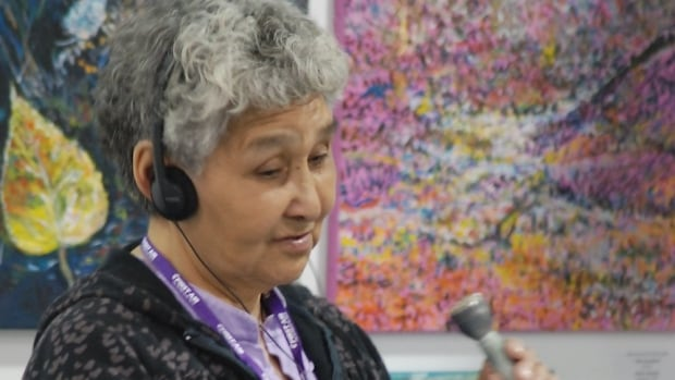 Dorothy Arey taking part in CBC North's 50th anniversary celebrations in Inuvik, N.W.T.