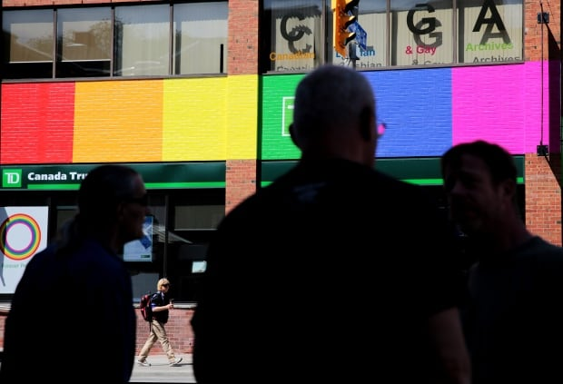 Rainbow colours at Church and Wellesley Streets in Toronto