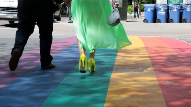 The rainbow crosswalk at Church and Alexander Streets.