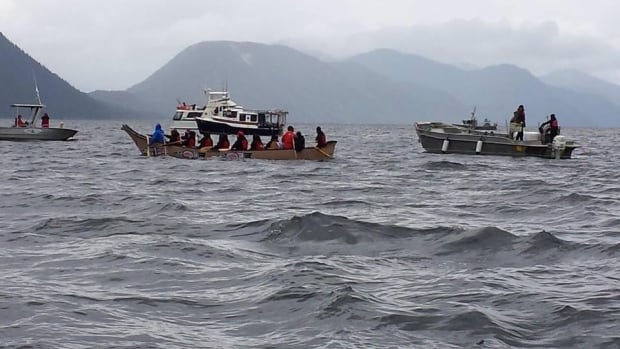 Hartley Bay First Nation members take to Douglas Channel Friday in a symbolic blockade of the future path of oil supertankers in northern B.C.