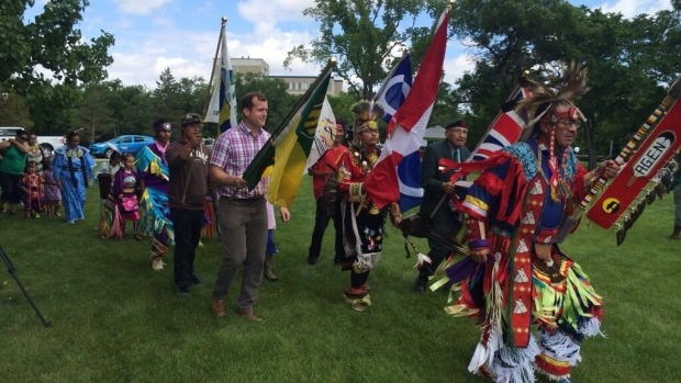 A grand entry kicked off National Aboriginal Day celebrations in Regina Saturday.