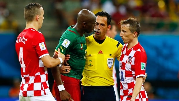If Cameroon is to come away with an upset over host Brazil, Stephane Mbia, second from left, and his team will have to get their emotions under control and avoid similar actions from their last match against Croatia.