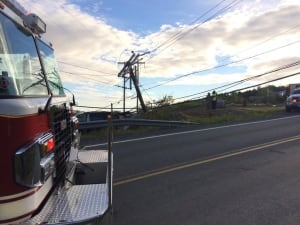 Utility pole crash on Blackhead Road