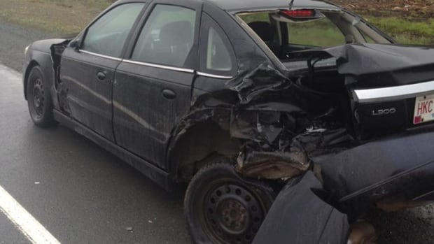 A car was extensively damaged after being struck by a pickup truck in a hit and run on the Trans-Canada Highway near the Foxtrap Access Road Saturday morning.