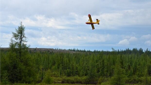 A water bomber flies over the forest near Kuujjuaq, Que. Quebec's forest fire prevention agency, SOPFEU, dispatched water bombers to tackle a fire burning near the community.