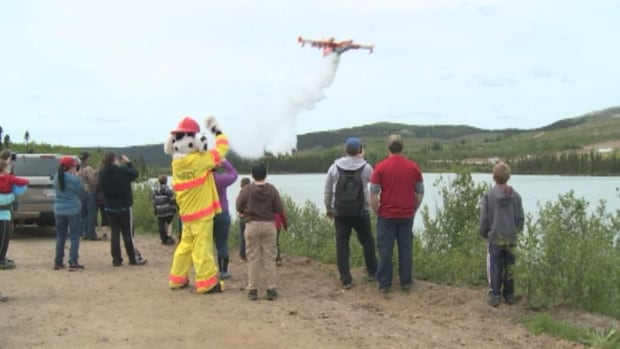 A water bomber took off on a display for spectators in western Labrador over the weekend during a demonstration about forest fire safety.