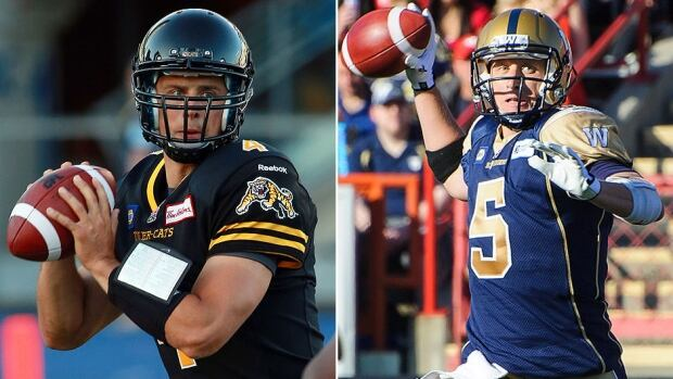 New Tiger-Cats starting quarterback Zach Collaros, left, had a 5-2 record for the Argos last season, good enough to persuade the Tiger-Cats to sign the free agent and let veteran Henry Burris test the market. The Blue Bombers liked Drew Willy, right, enough to name him starter before training camp even started.